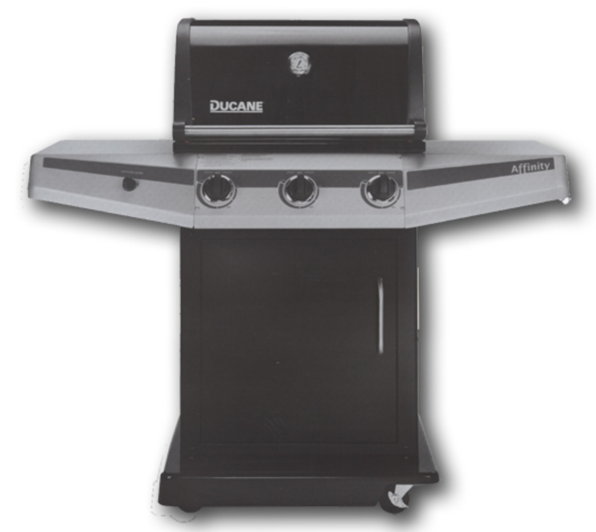 Ducane 2010 Affinity 3100 gas barbecue grill.  Ducane uses a porcelain enamel heat shield on both models over each pipe burner instead of the stainless briquette tray.