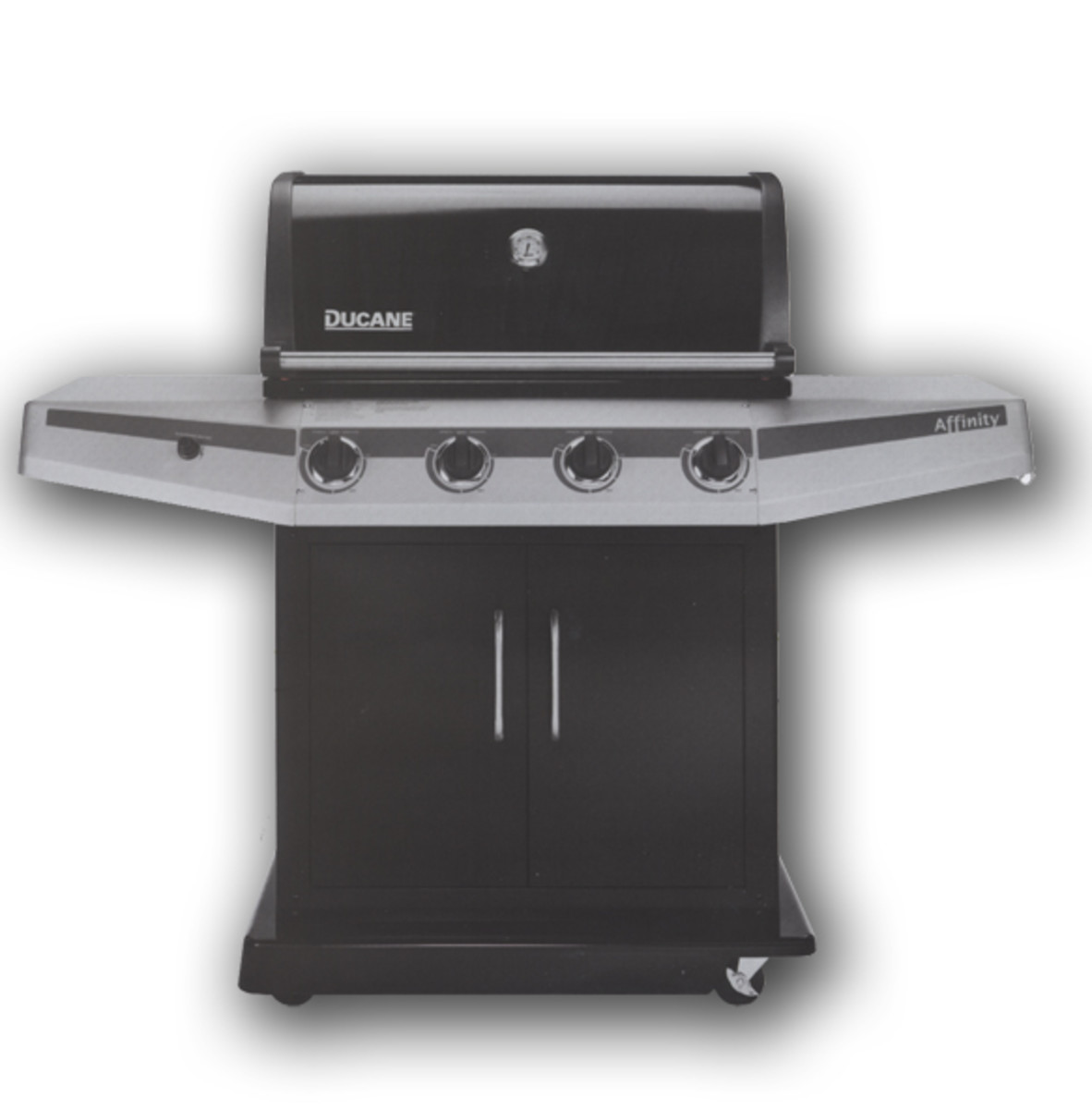 Ducane Affinity 4100 boasts 48,000 BTU and 693 square inches grilling surface.  Stainless steel is replaced by porcelain and plastic.