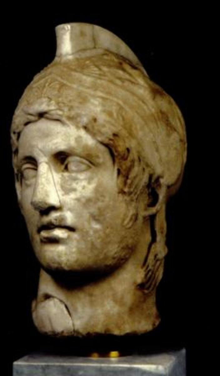 Head of God Ares; roman copy of a greek original.