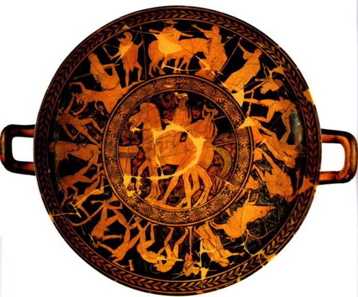 This kylix, of Penthesilea painter, is the largest red-figure cup ever found. The center features the mythical hero Theseus and his companion Peirithous. On the outer wrapper are depicted the youthful exploits of the attic hero.