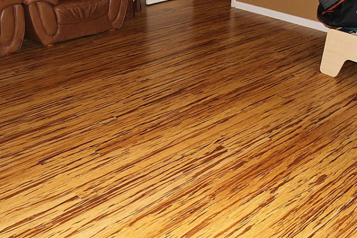 Strand-woven bamboo wood flooring