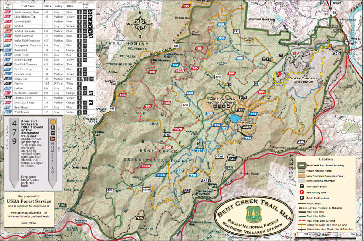 This is the original US Forestry Service Trail Map Of Bent Creek Experimental Forest
