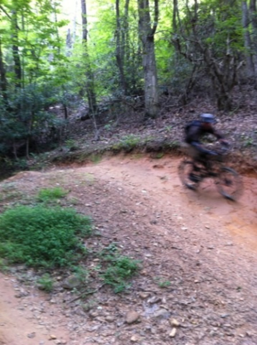 Greens Lick Trail has many feature. This step-up hip jump near the end of the trail follows a series of jumps and waterbreaks  that are nicely incorporated into the terrain.