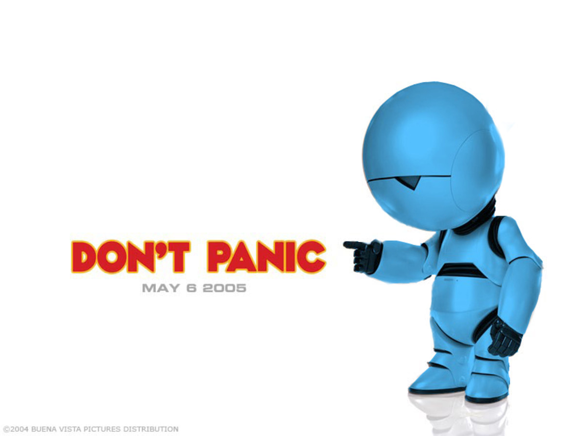 "Jason and Maddie's new mascot. He only ever says one thing - ""Don't panic!"""