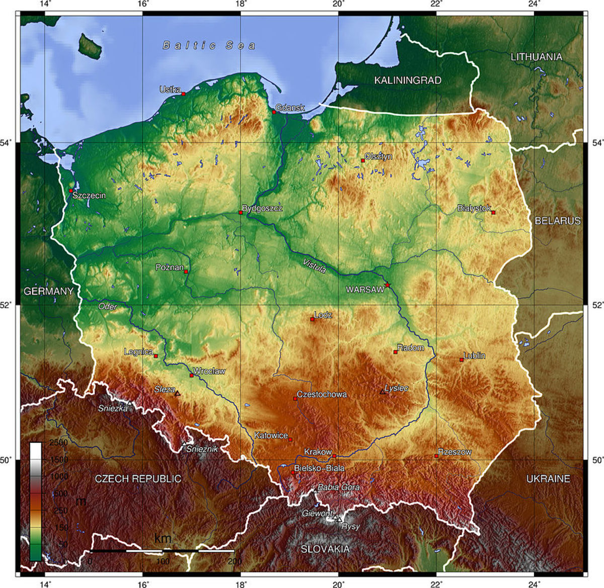 Topography of Poland: farm lands are green; golden-yellow areas are lowlands and marshes; and rust-colored areas are ridges and mountains.