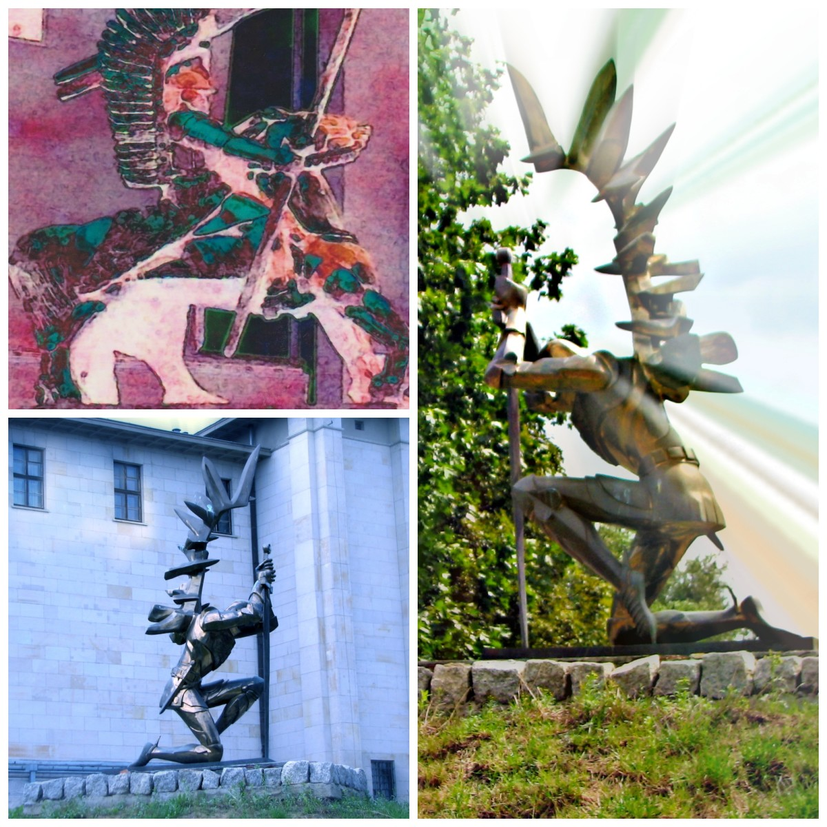 Winged Hussars near Entrance of Polish Army Museum, Warsaw; Collage © Georgene A. Bramlage