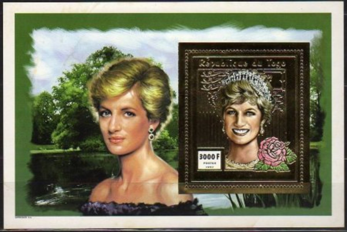 Princess Diana gold foiled souvenir sheet worth about 4$-5$