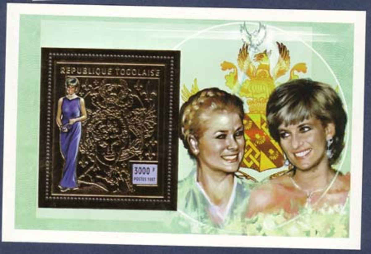 Togo: Princess Diana gold foiled souvenir sheet worth about 4$-5$