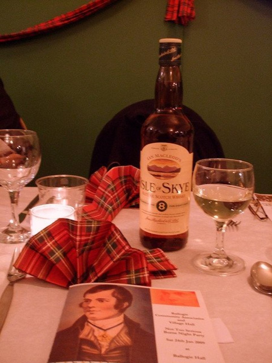 Table setting for Robbie Burns Night Supper.