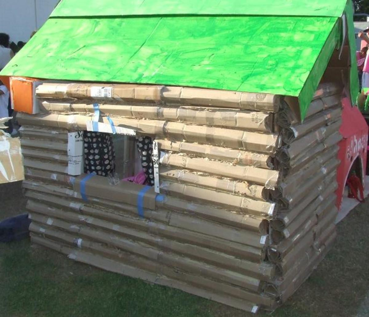 Cardboard Log Cabin, View One