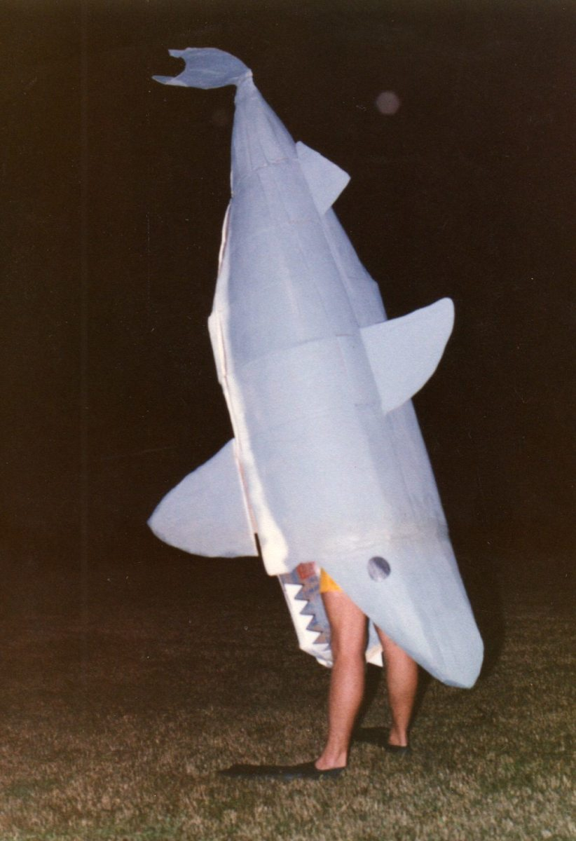 "Cardboard Shark ""Costume"" Worn by Costume Party Goer..."