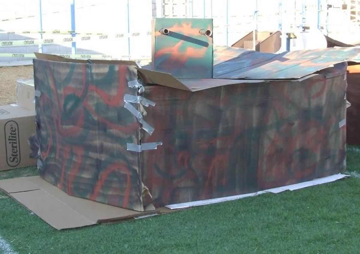 Cardboard Army Tank, Complete with Cardboard Turret