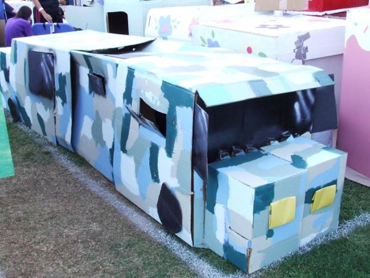 Cardboard Camouflaged Limo or Hummer or Some Other Form of Transportation