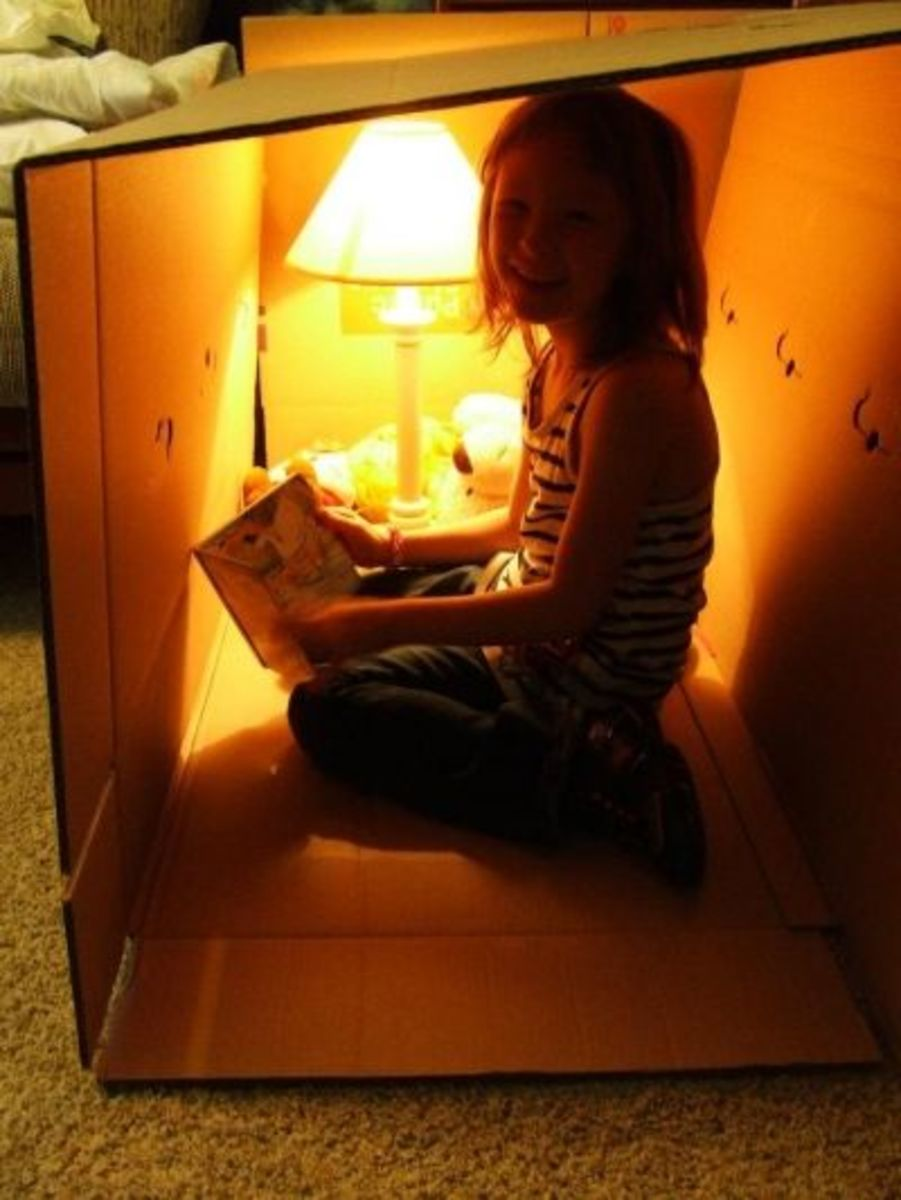 Using a fluorescent light to create a 'reading nook' from a cardboard box.