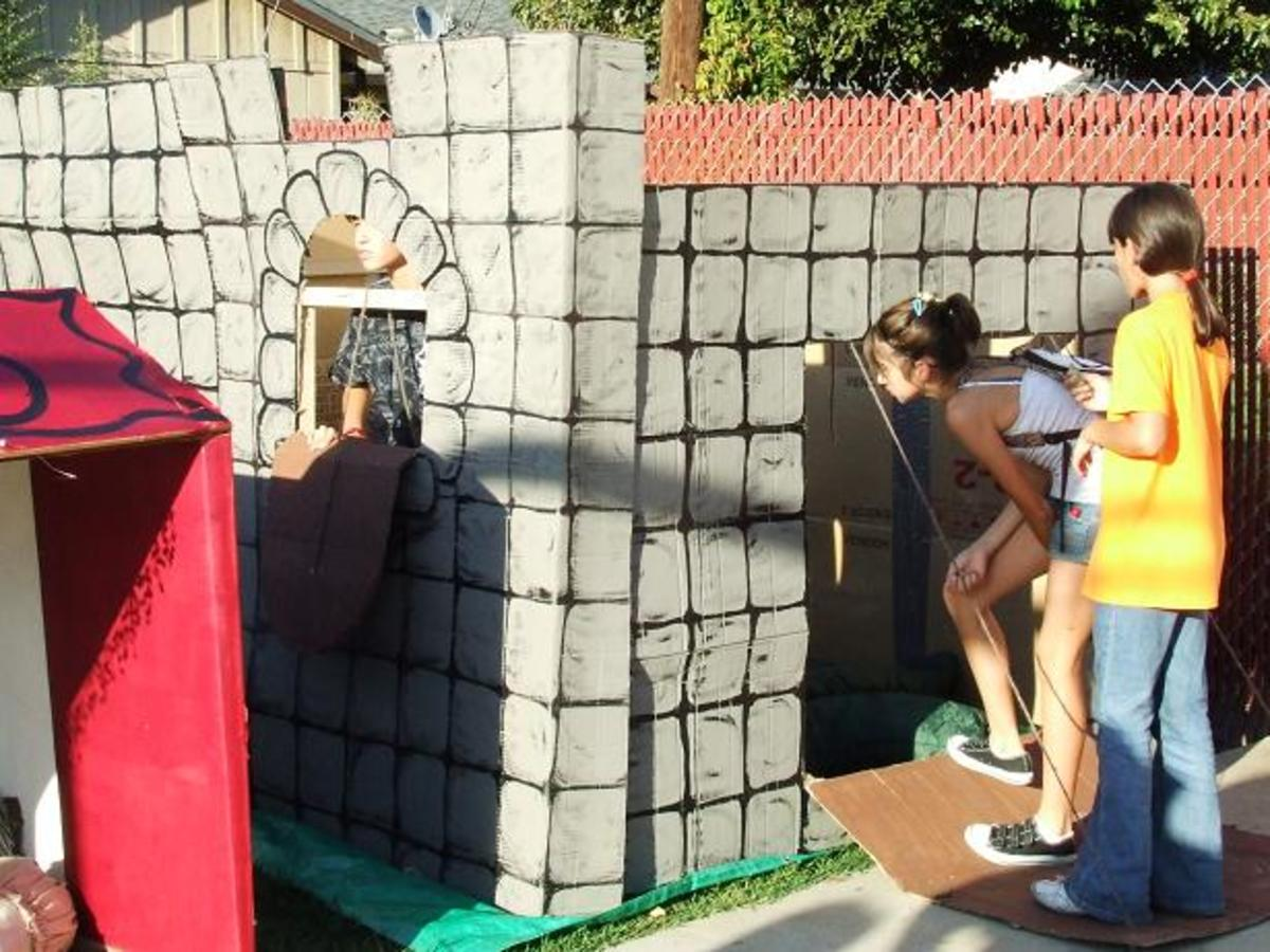 Cardboard Castle, with Visitors Checking Out the Drawbridge Entrance