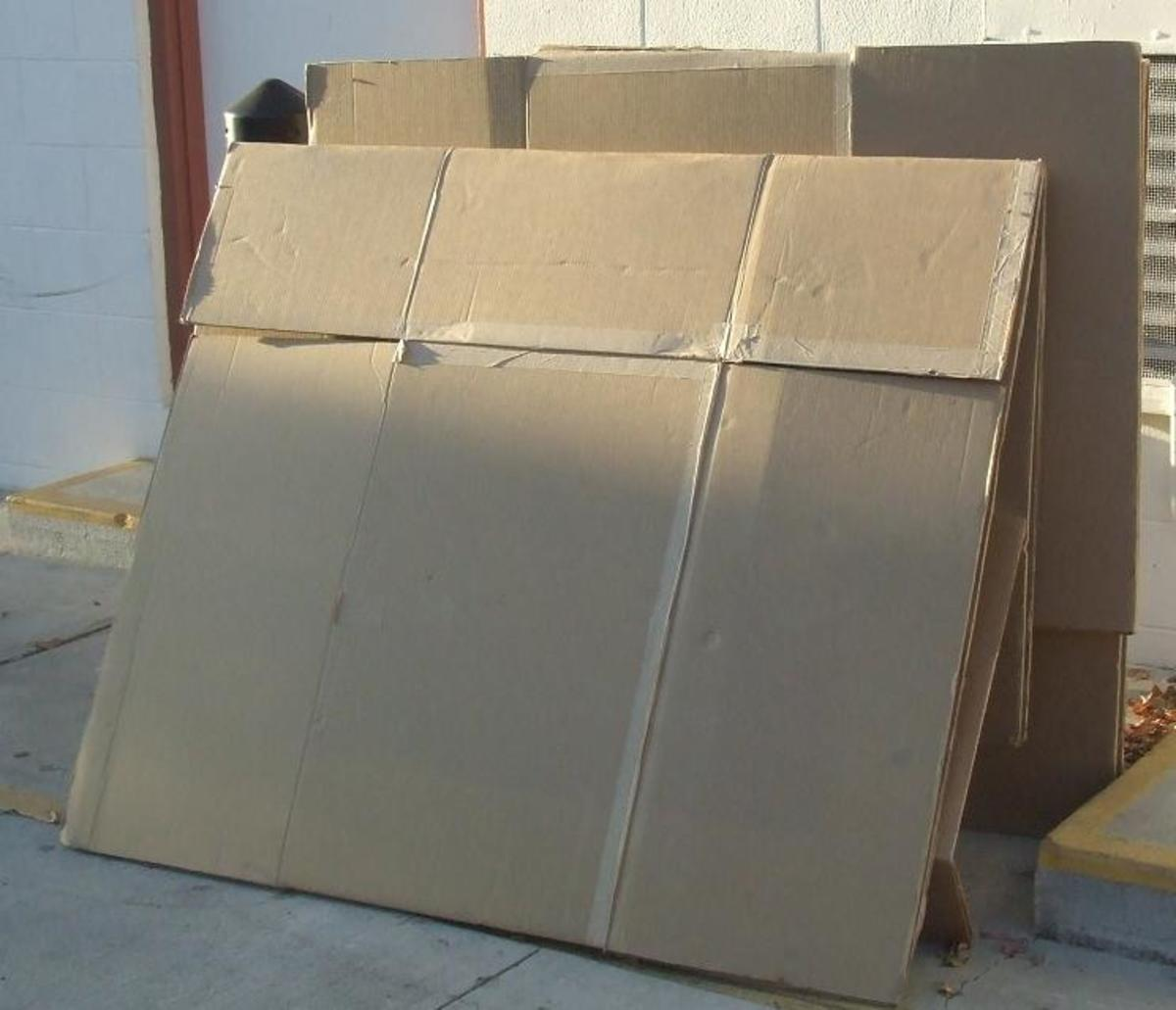 Cardboard boxes, flattened, ready for repurposing!