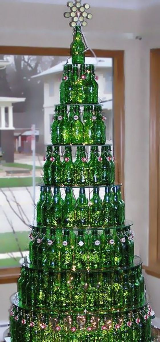 Green Glass Beer Bottle Christmas Tree