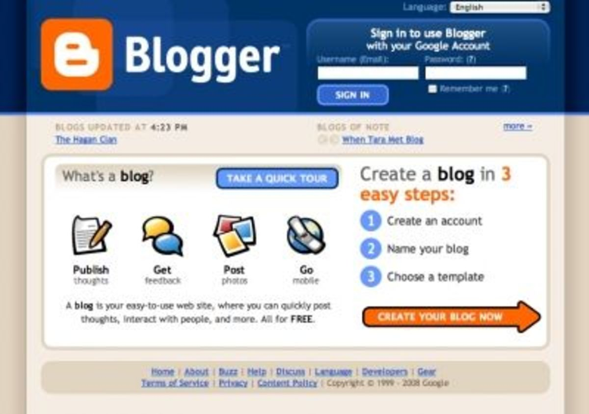 The Blogger intro screen will help you with the three steps necessary to begin.