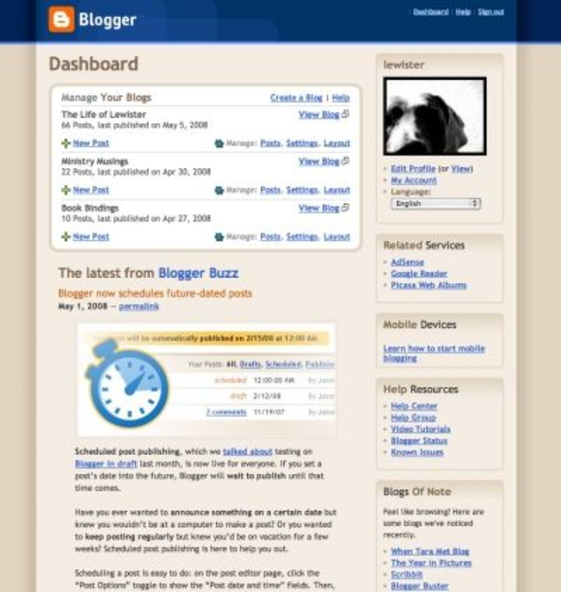 Your dashboard helps you manage multiple blogs and your account.