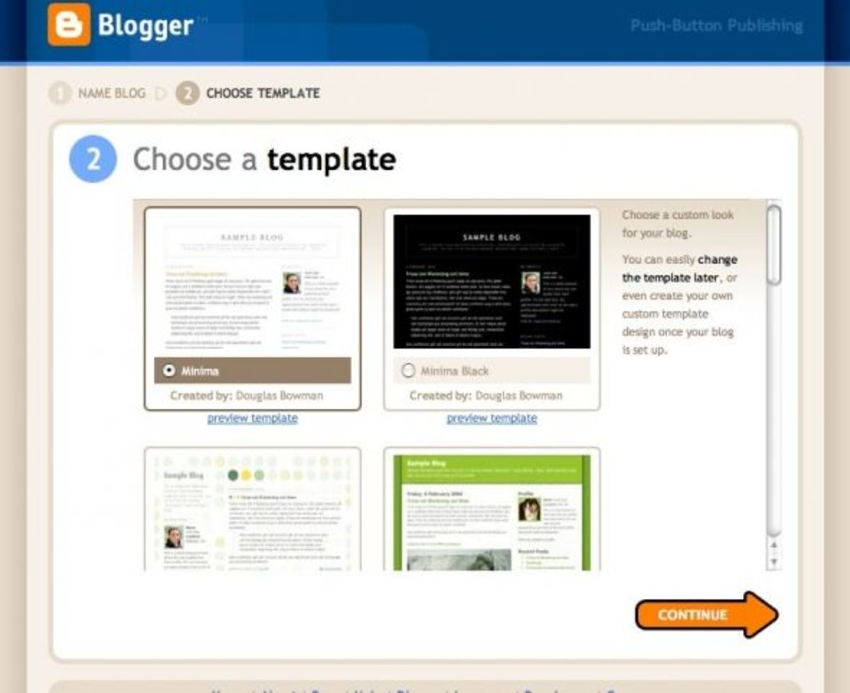 Choose a Blogger Template