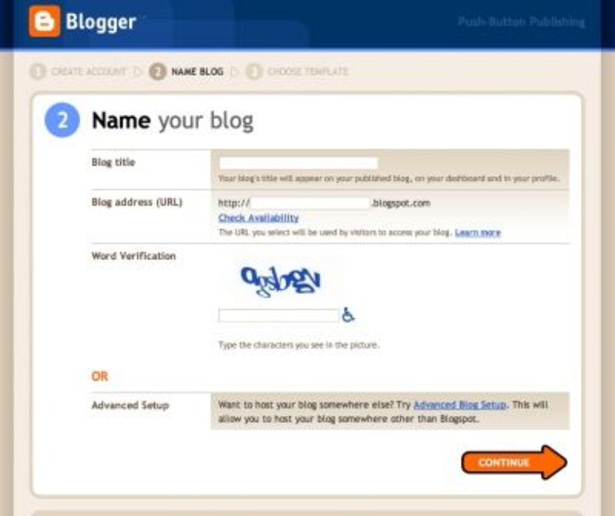 Next, you'll give your new blog a name and a home.