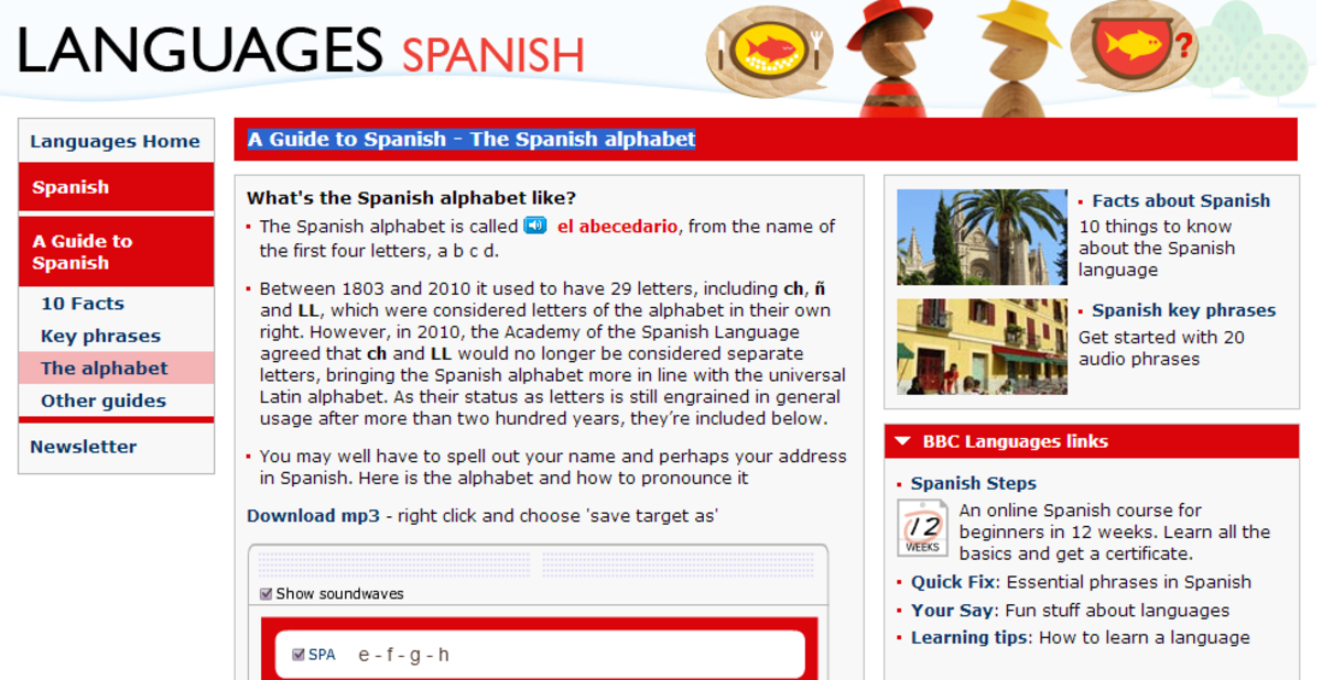 Main Spanish Language page at the BBC languages web site