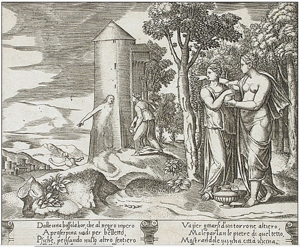 Psyche's sister convinces her that a serpent is sleeping with her.