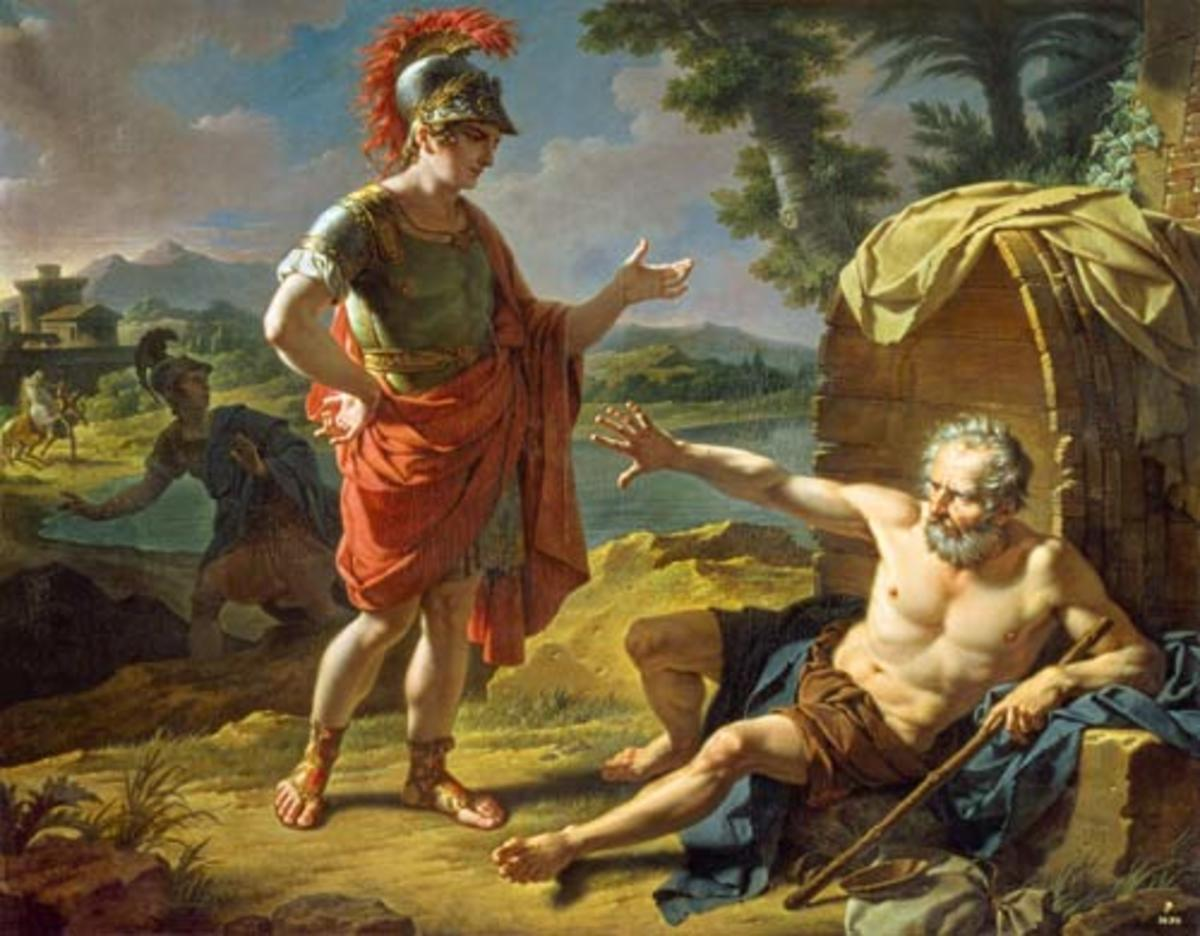 Alexander the Great meets the Greek philosopher Diogenes of Sinope circa 335 BC.
