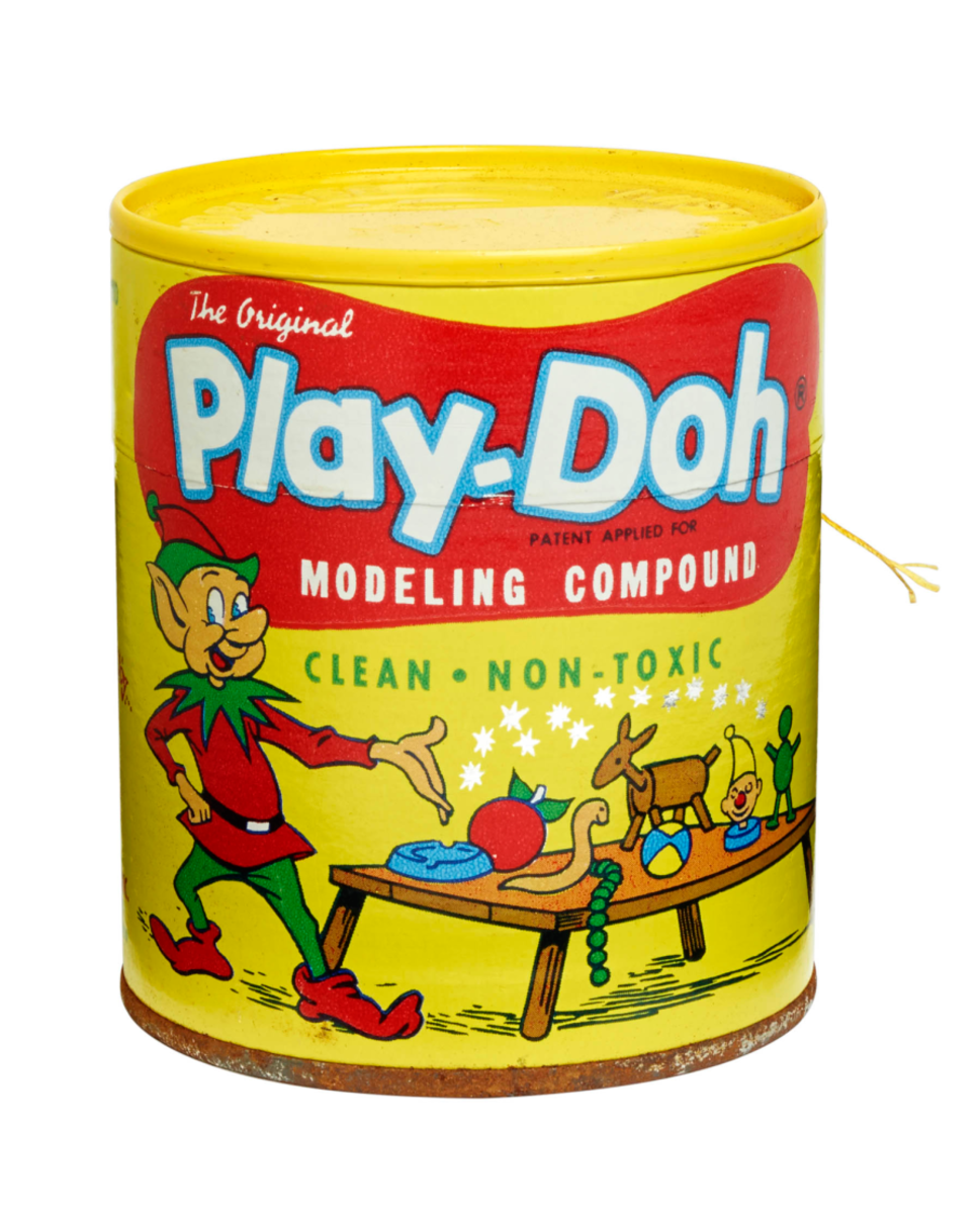 The original Play-Doh can pictured an elf before it was changed to a boy in a smock.