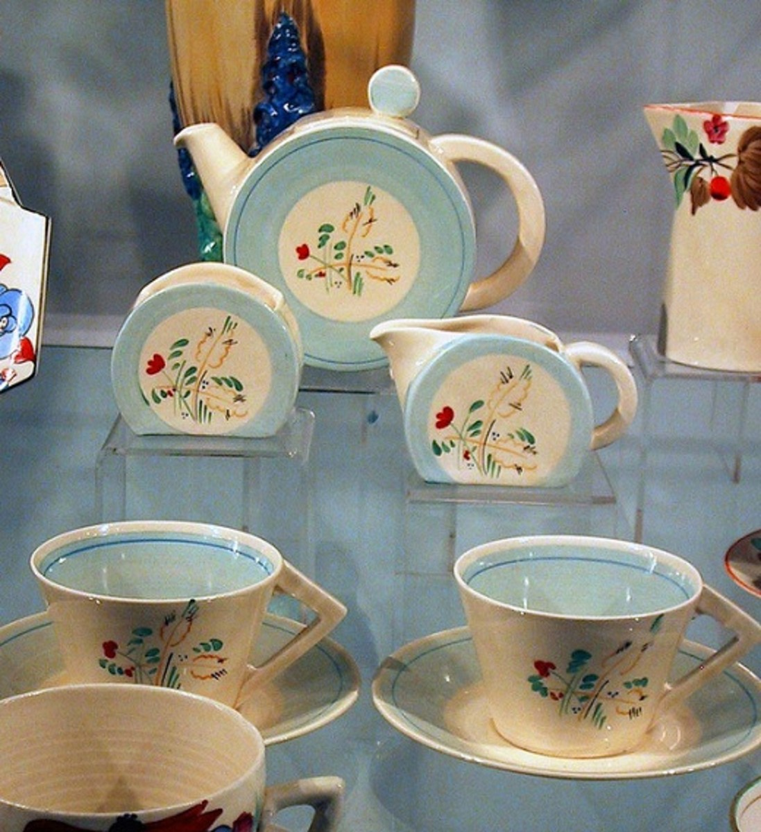 A typical Clarice Cliff Art Deco style tea set.