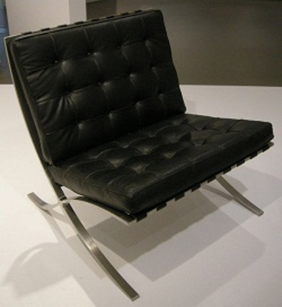 An example of the famous Barcelona Chair designed by Mies van der Rohe.