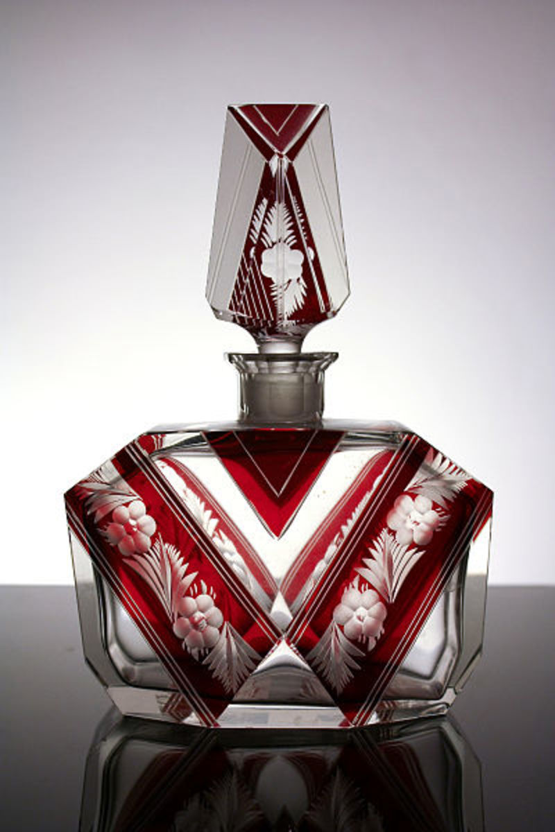 Czech glass perfume bottle in the classic Art Deco style