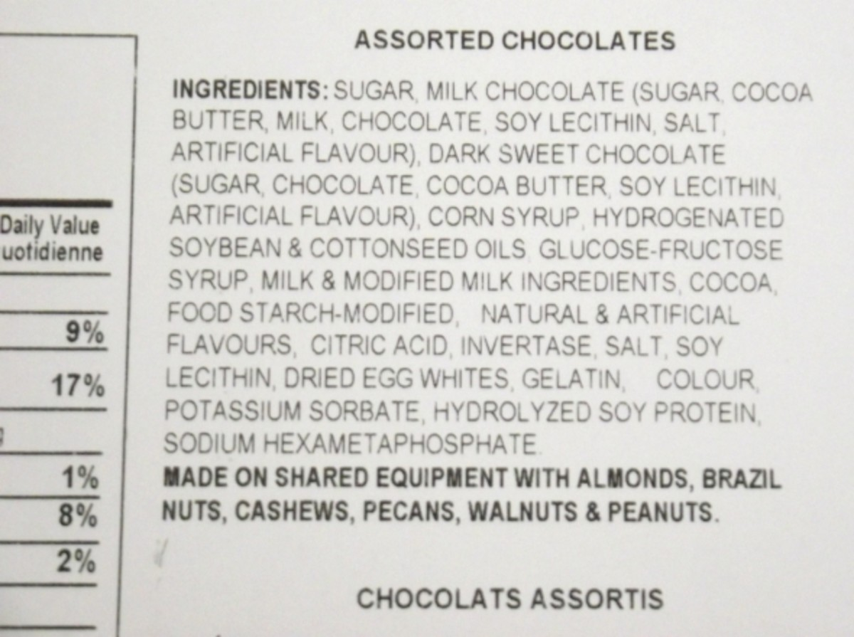 Ingredient list for chocolate shows the presence of Soy.