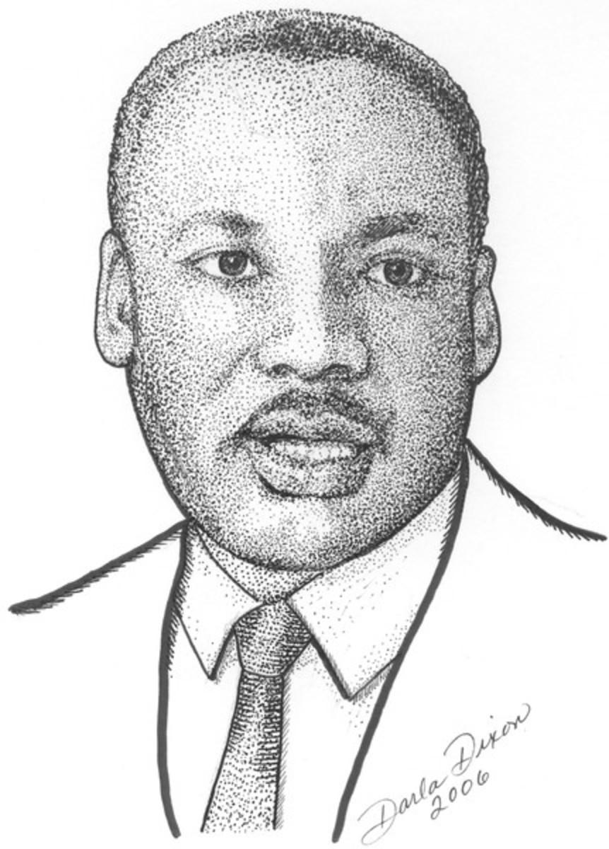 Stipple dot drawing of MLK by Darla Dixon