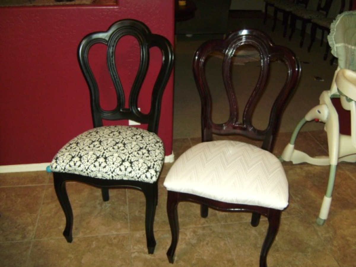 new chair and old chair side by side - How To Recover Dining Room Chairs