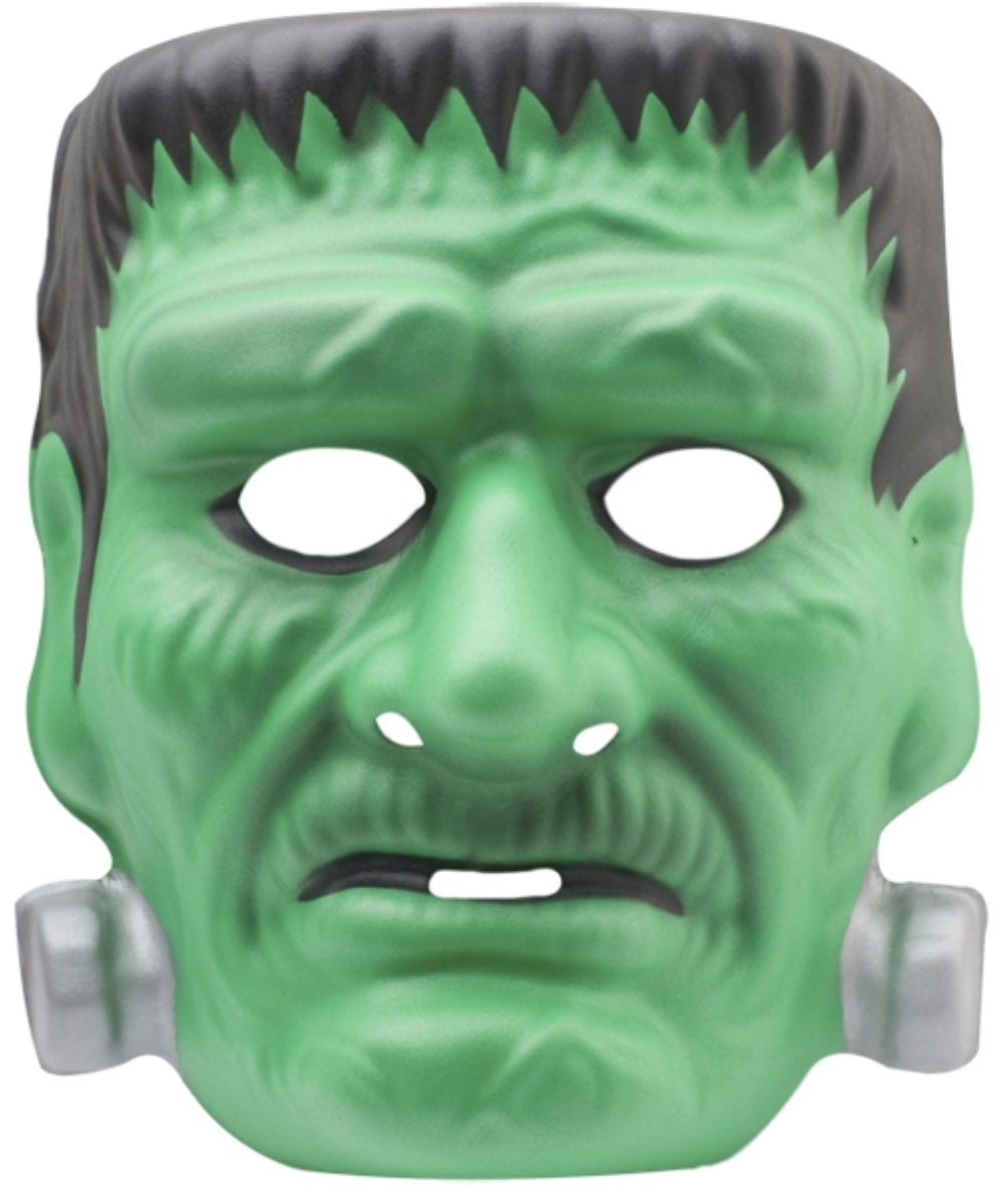Green Frankenstein three-dimensional mask