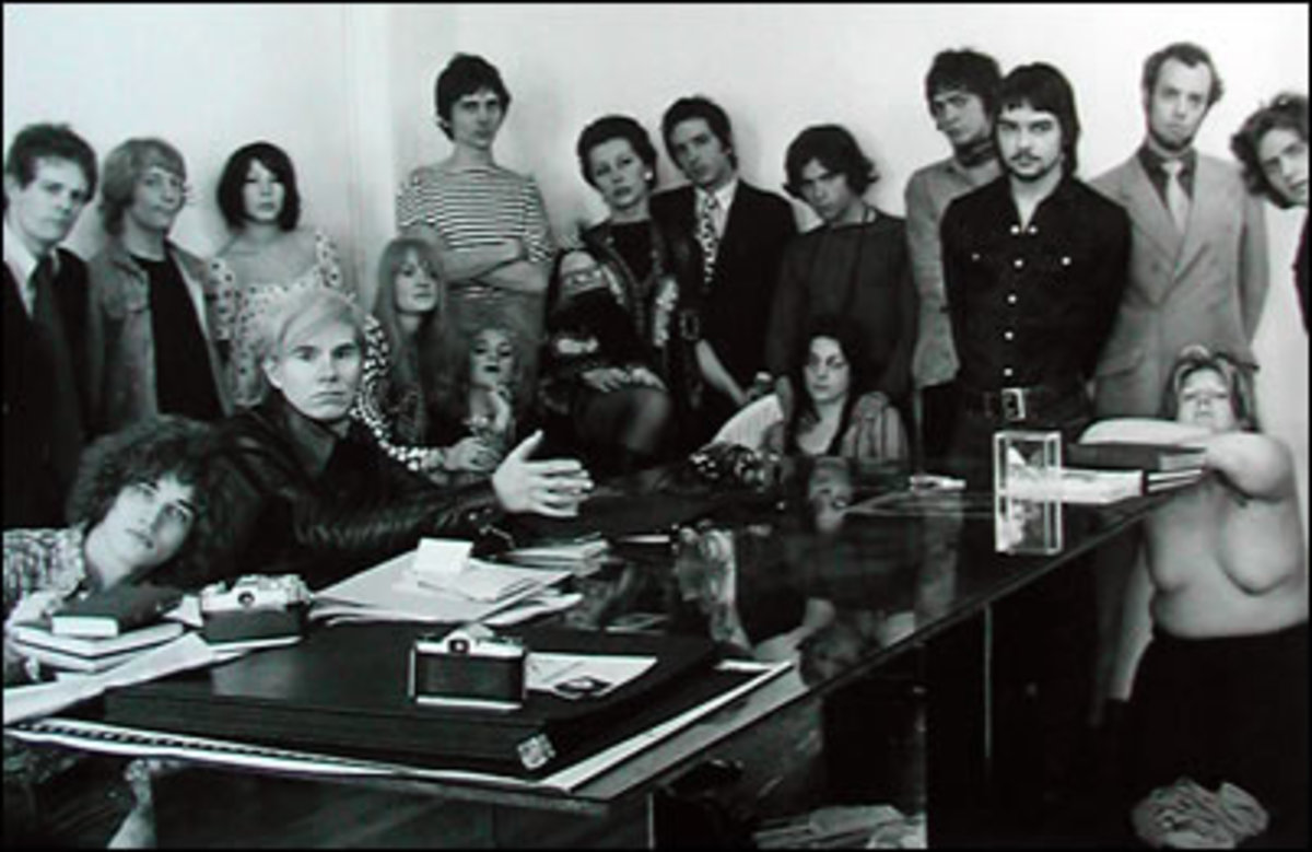 Andy with the Factory crowd in 1969