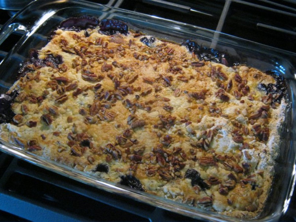 At just seconds shy of the 45-minute mark, my nose got the message that the dump cake was ready. Bake up to 60 minutes if needed, depending on your oven and the pan you use, until the cake is browned and beautiful.