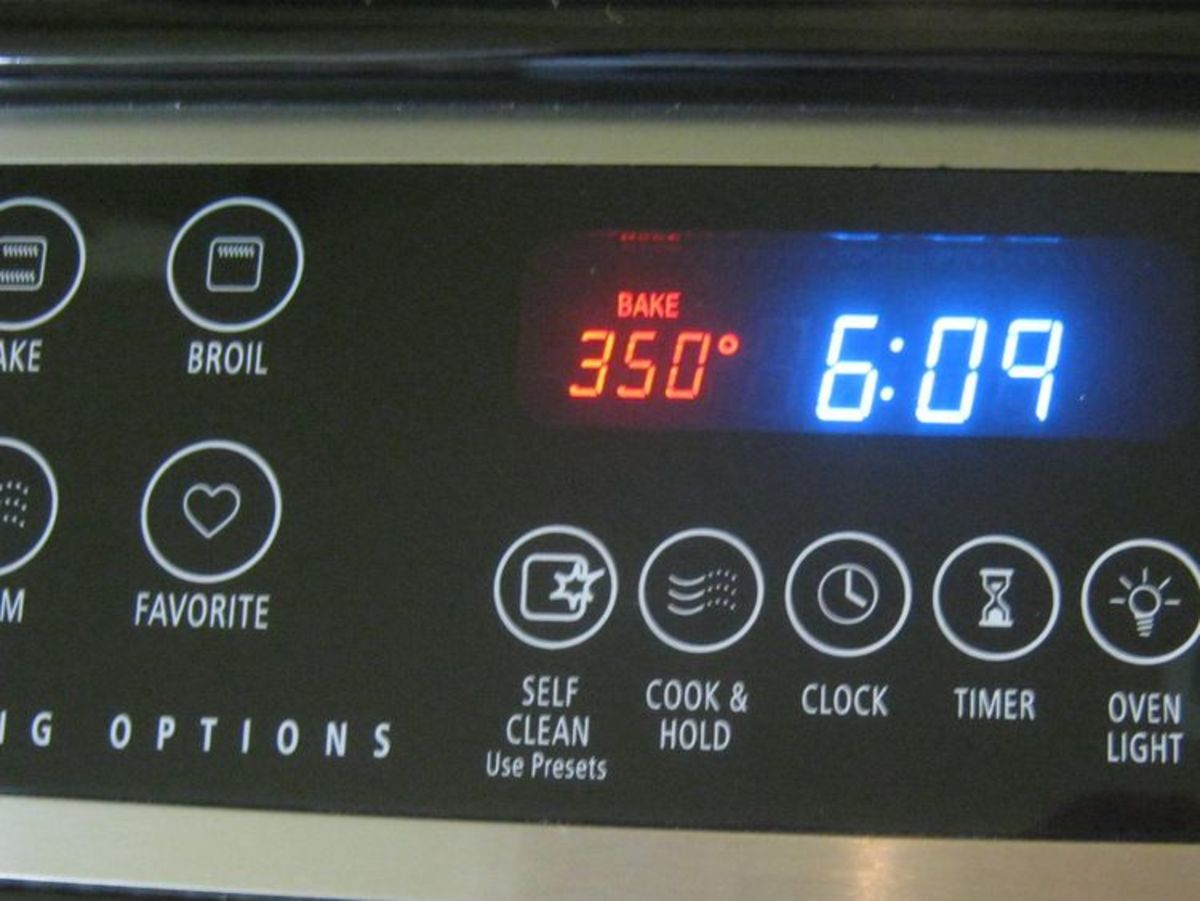 When the oven's ready - 350 degrees - put the cake pan in the oven. Set the timer for 45 minutes.