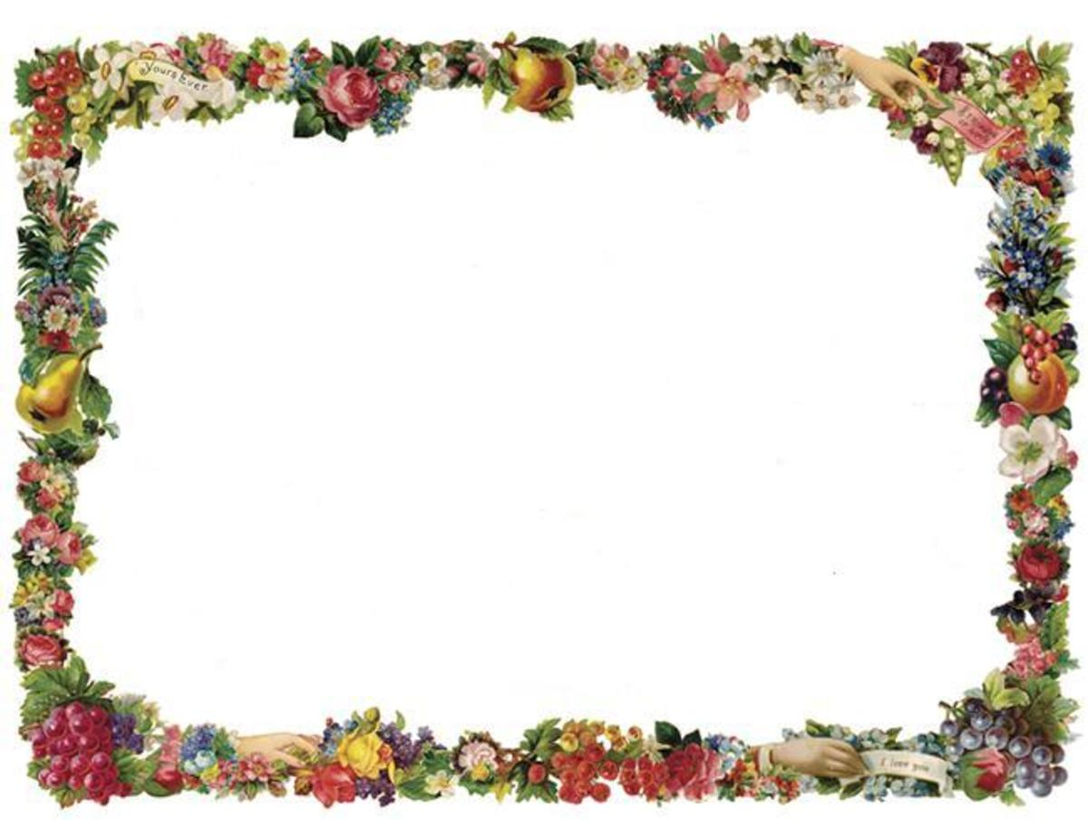 Horizontal Victorian flowers and fruit border