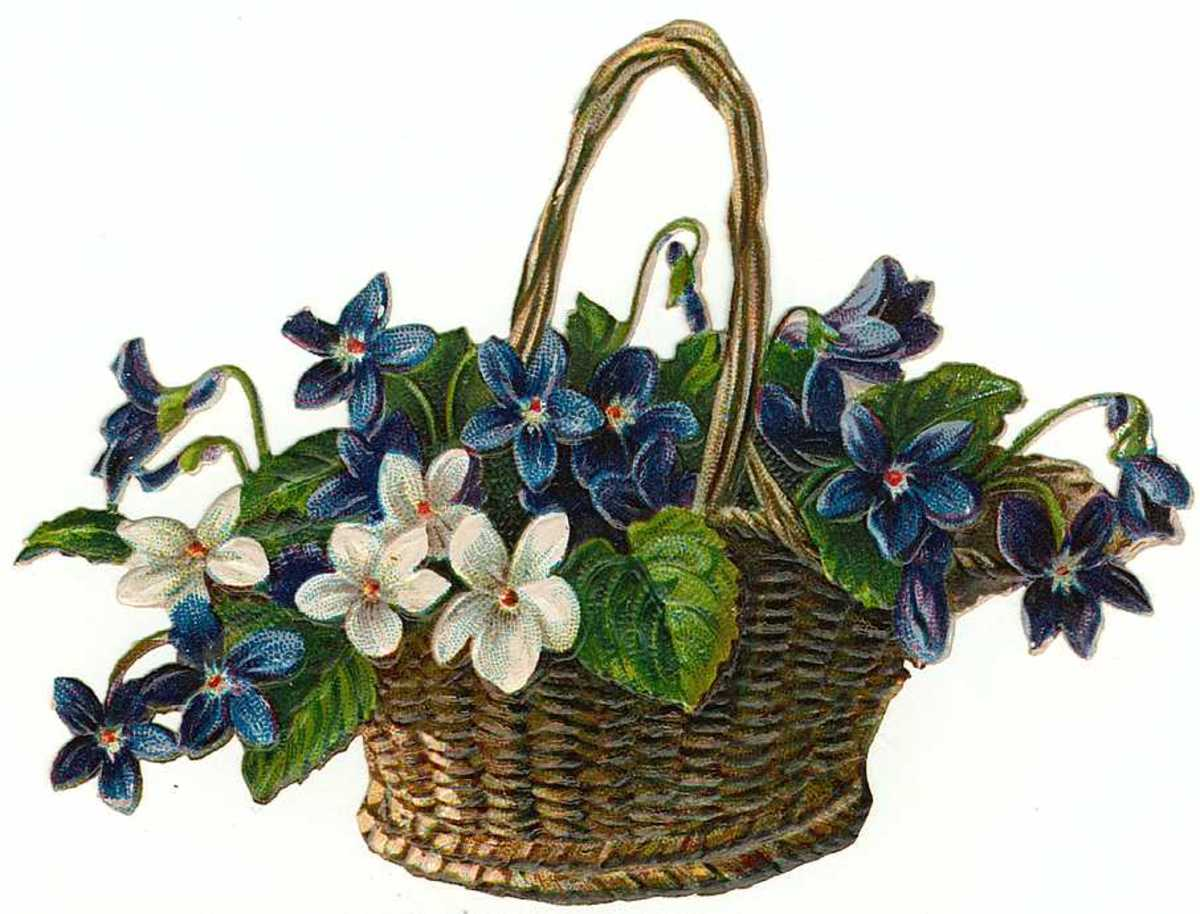 Blue Victorian flower basket * See downloading instructions above