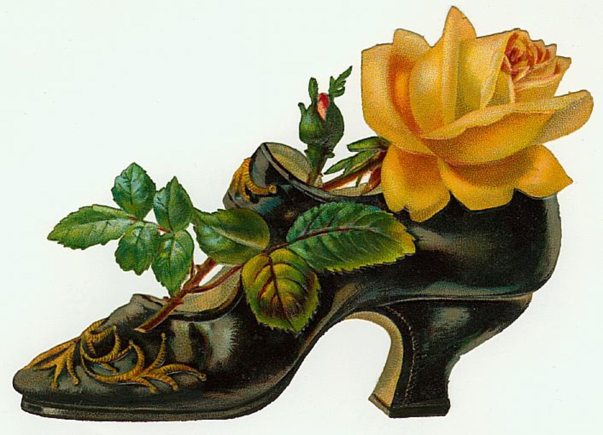 Victorian ladies shoe with yellow rose