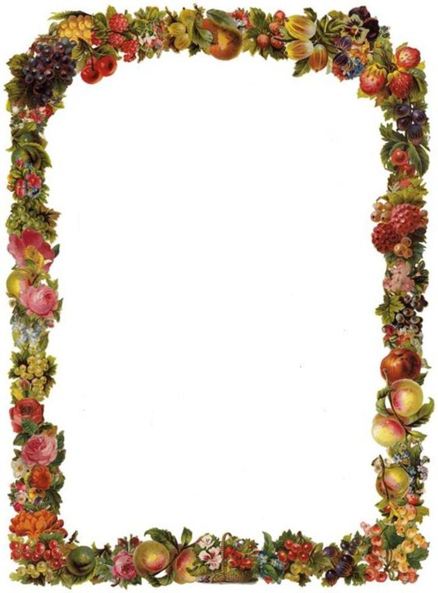 Vertical Victorian flowers and fruit border