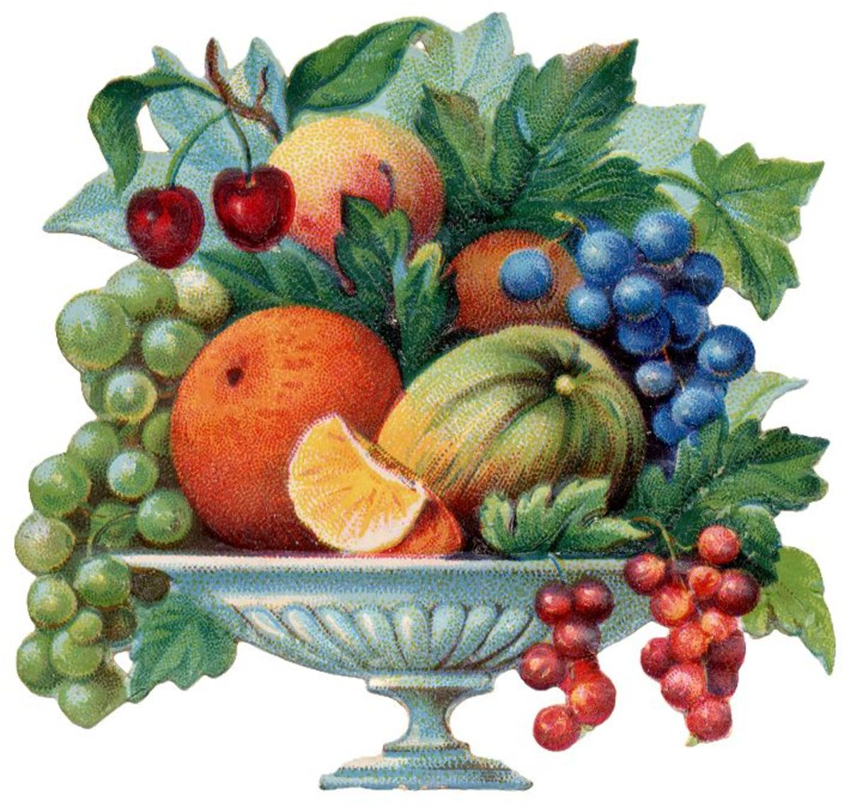 Footed Victorian fruit bowl clip art