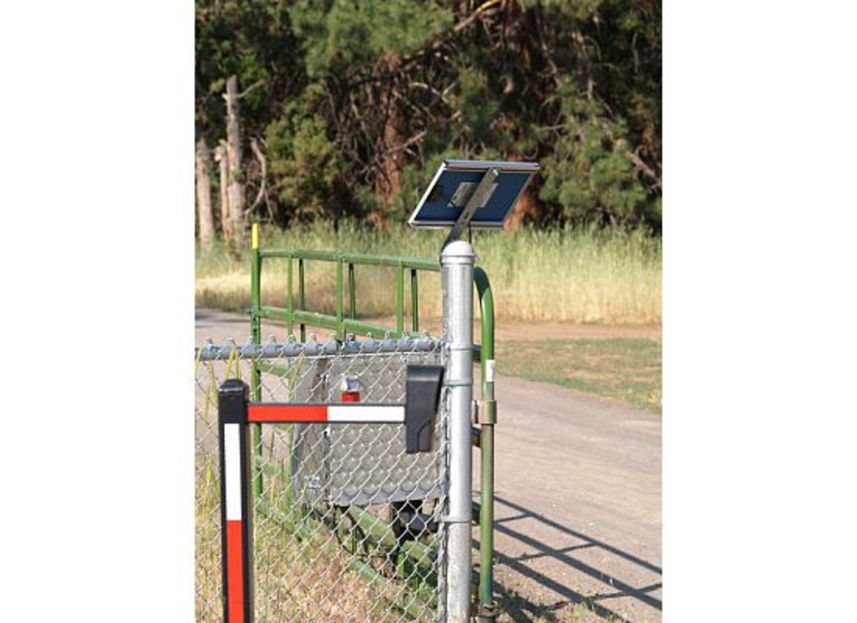 Solar panels provide power to open and close a gate