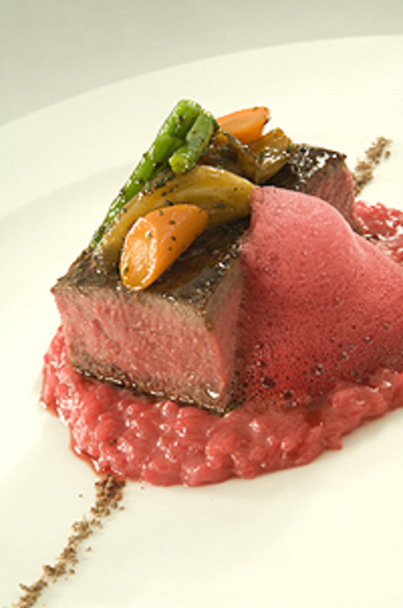 Pepper Crusted Strip Steak with Chocolate Salt, Beet Risotto, and Beet Foam. Photo courtesy Rosendales.