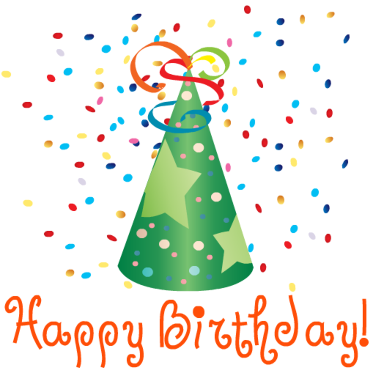 Green birthday hat and present clipart