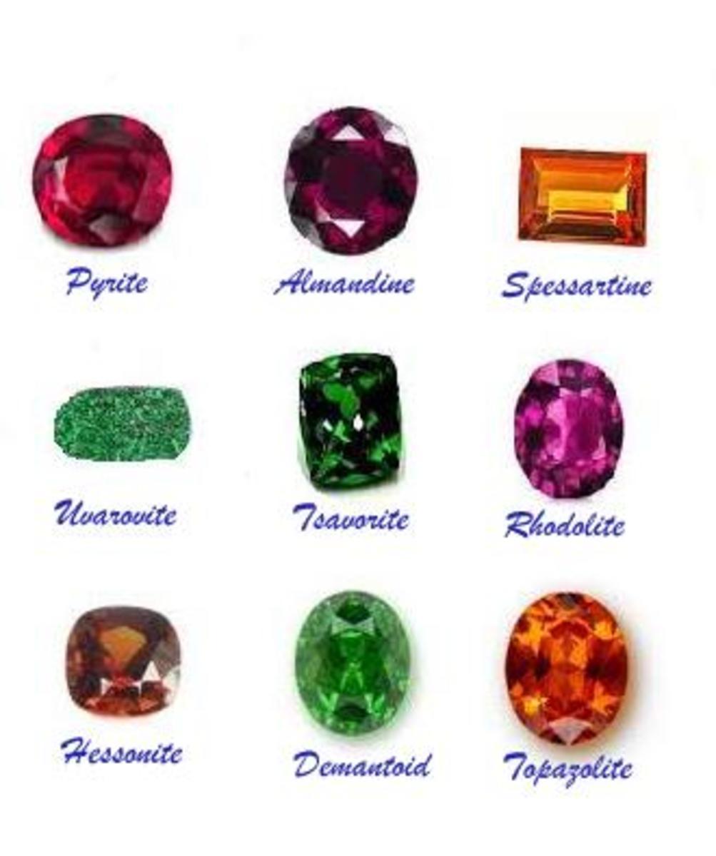 Garnet Types : Pyrope, Almandin , Spessartine,  Uvarovite,  Tsavorite, Rhodolite, Hessonite, Demantoid and  Topazolite