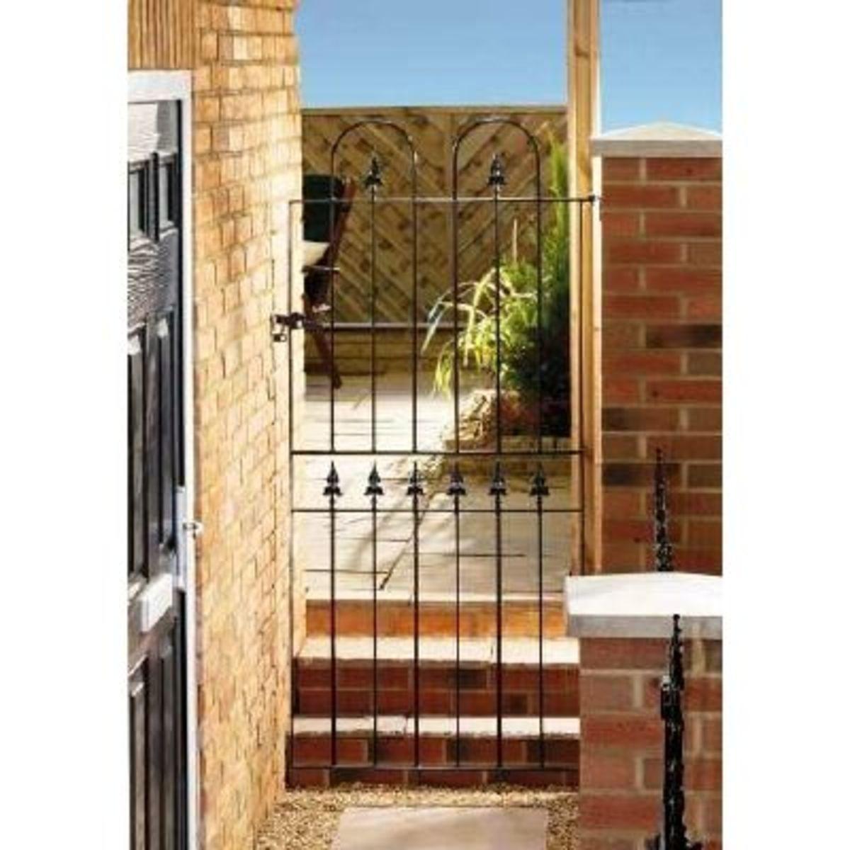 Wrought Iron gates - Tall single side entrance iron gates - Kensington gate