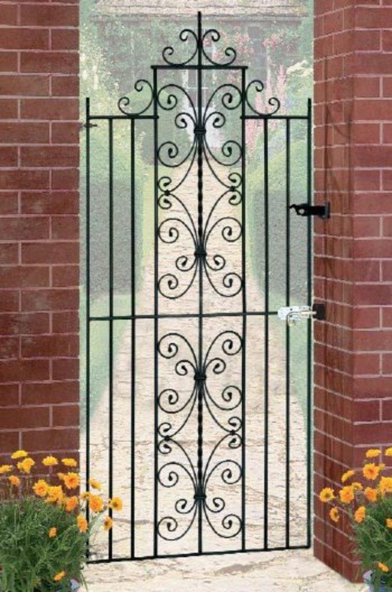 Wrought Iron gates - Tall single side entrance iron gates - English rose side gate